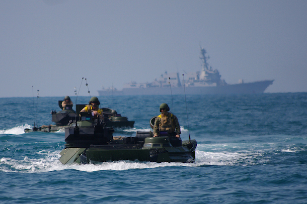 USS Denver participates in drills in the South China Sea on Feb. 10, 2011. (Paul Kelly/USN)